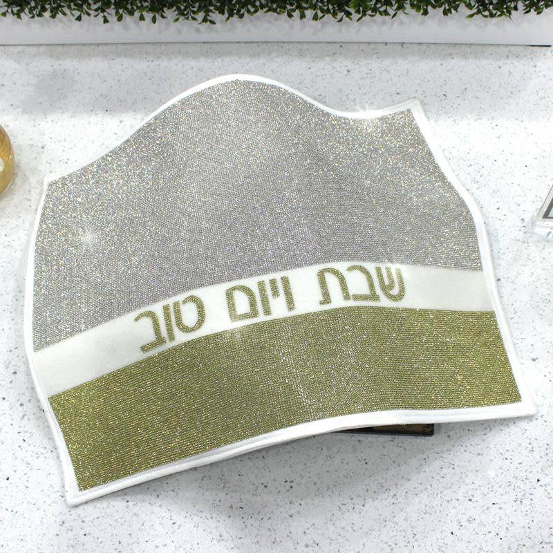 Leather crystal challah cover silver/gold
