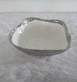 """10"""" square silver bowl"""