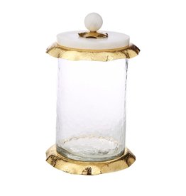 Large glass canister w/ marble & Gold Glass lid
