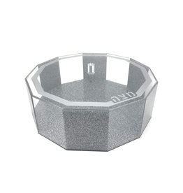 Hexagon Silver glitter matzah box