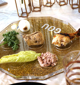 Hexagon gold glitter Lucite Seder plate