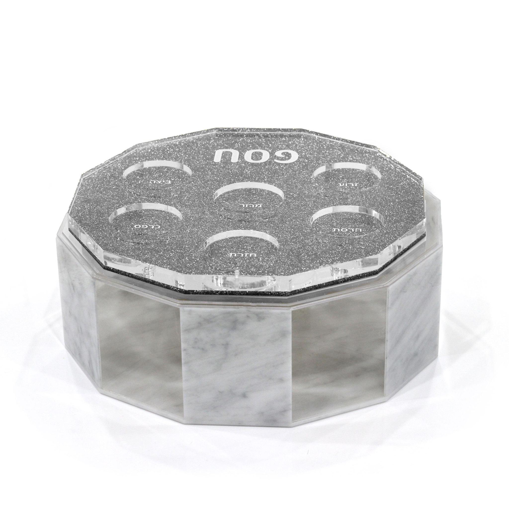 Hexagon silver glitter Lucite Seder plate