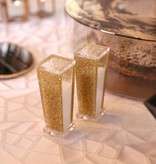 Trapazoid Lucite Gold Salt & Pepper Shakers
