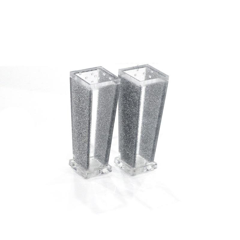 Trapazoid Lucite Silver Salt & Pepper Shakers