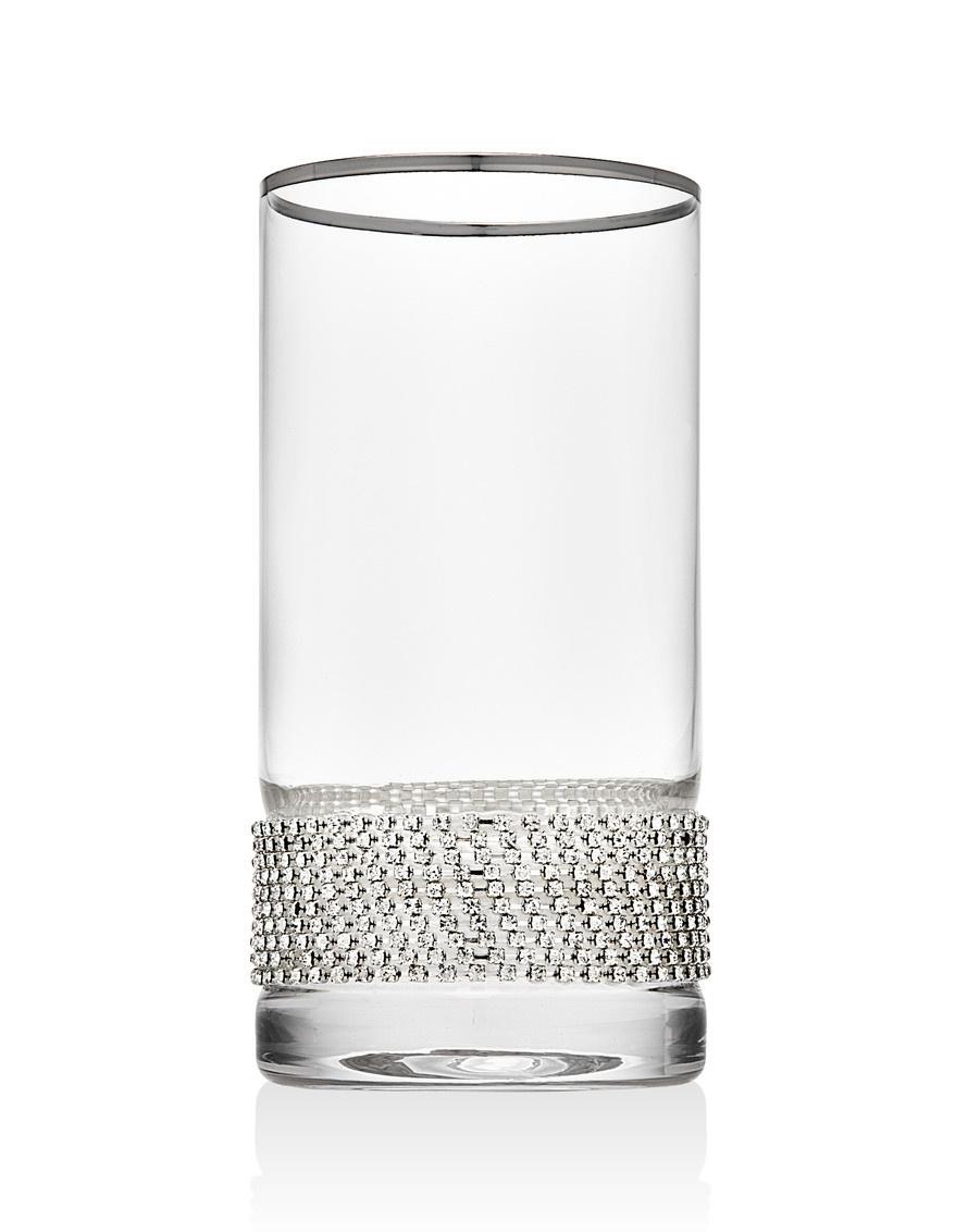 Silver Bling Highball Glasses s/4