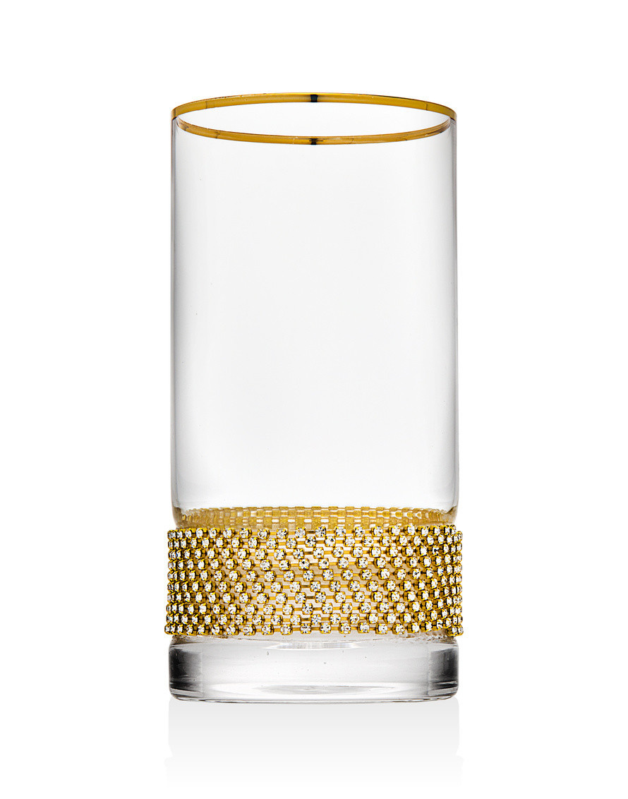 Gold Bling Highball Glasses s/4