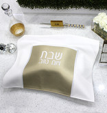 Waterdale Collection Small Leather Square challah cover white/gold