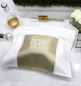 Small Leather Square challah cover white/gold