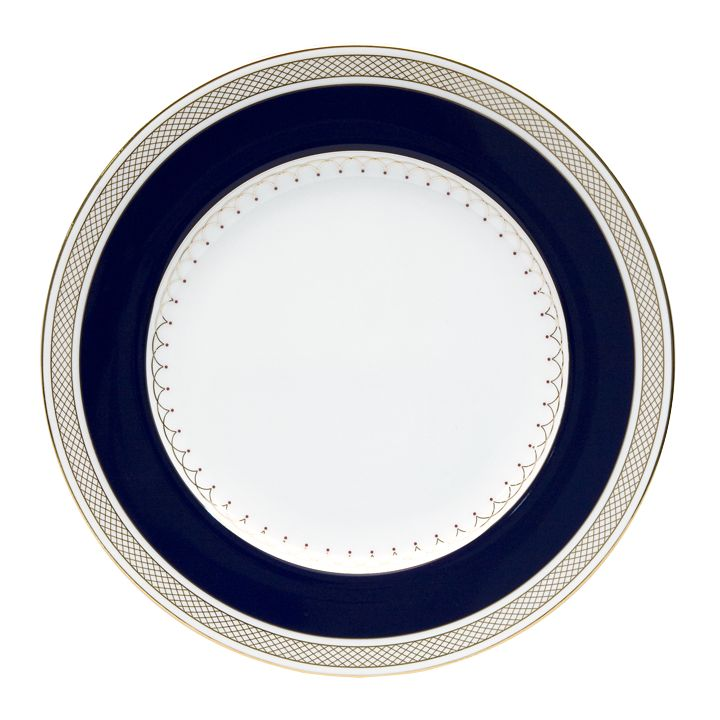 Nikko Lattice Gold/Navy Round Accent Plate
