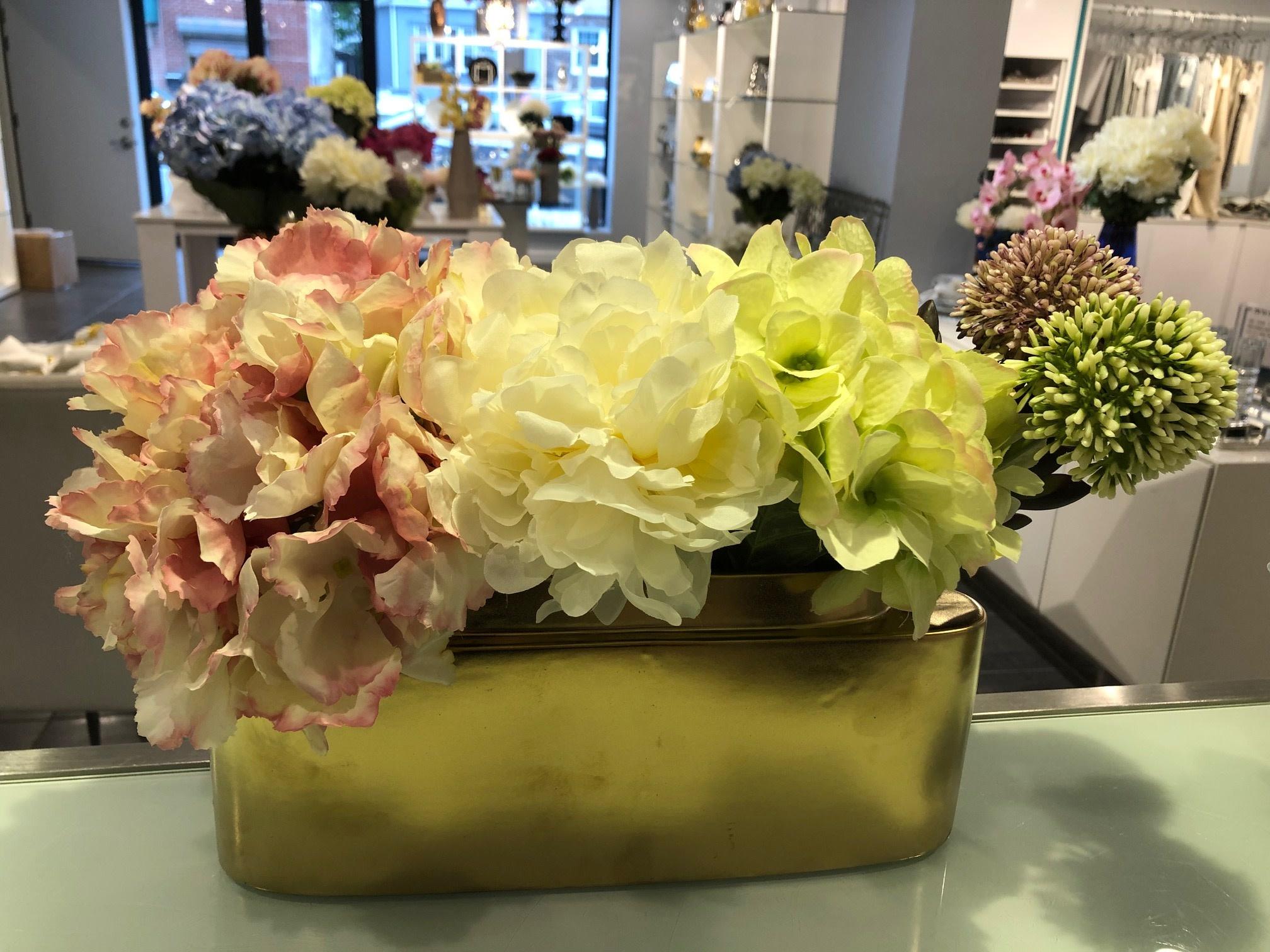 Sleek Planter w/ hydrangeas