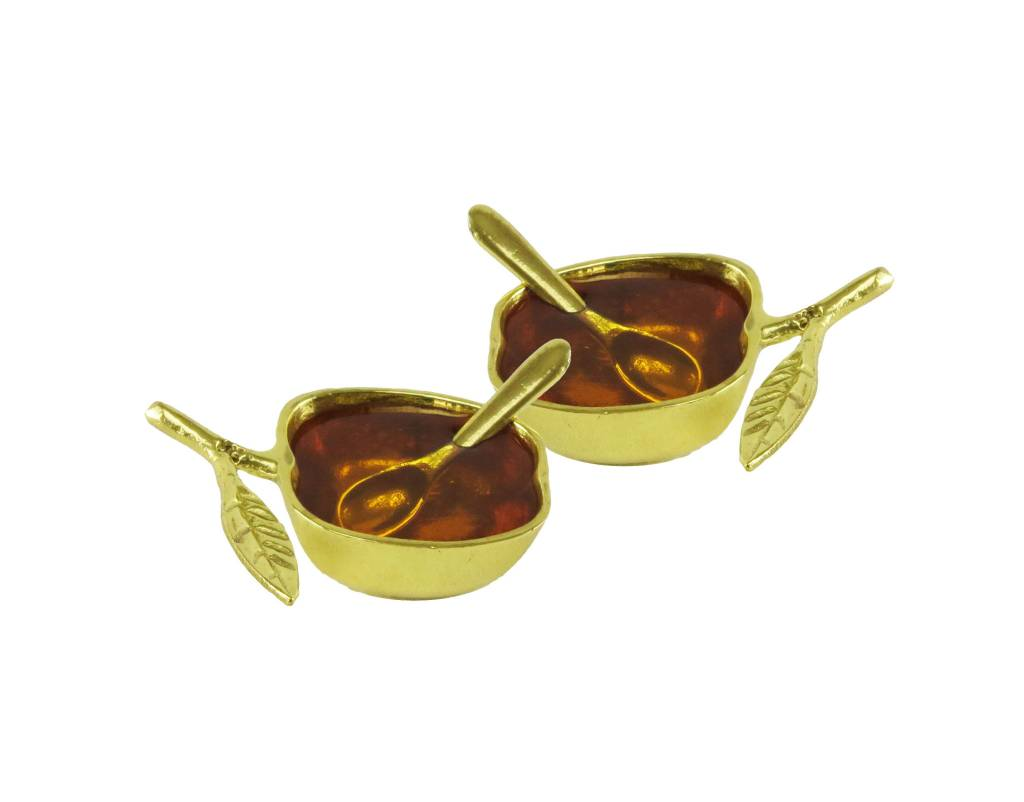 Apple honey Dish Gold set of 2