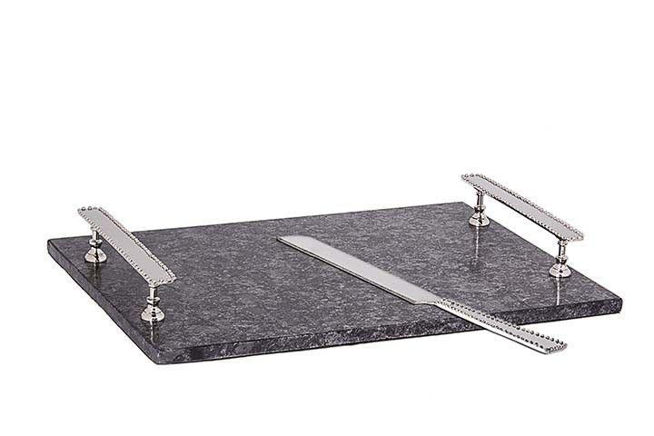 Grey Granite Challah Tray w Knife