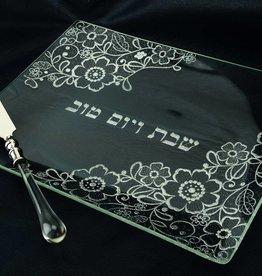 Silver Glitter Glass Challah tray