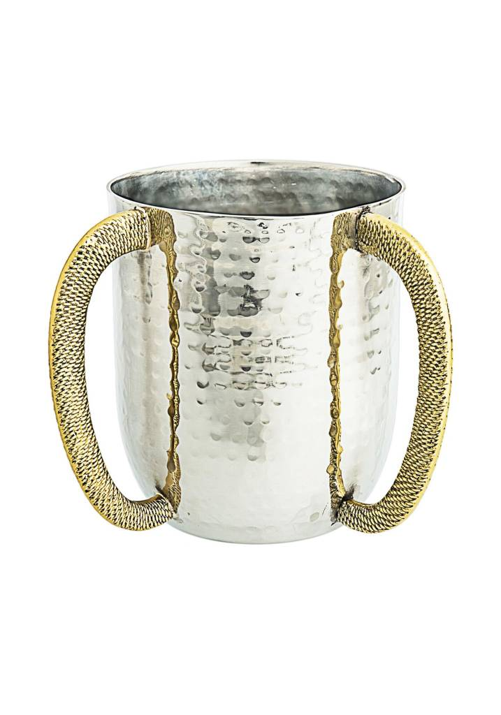 Washing cup with gold spagetti handles