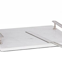 White marble challah tray w/ beaded handles + knife