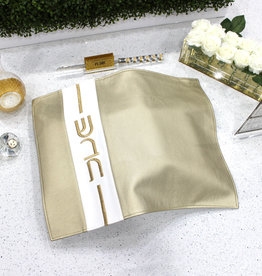 Waterdale Collection Leather Challah Cover - Vertical Gold/White
