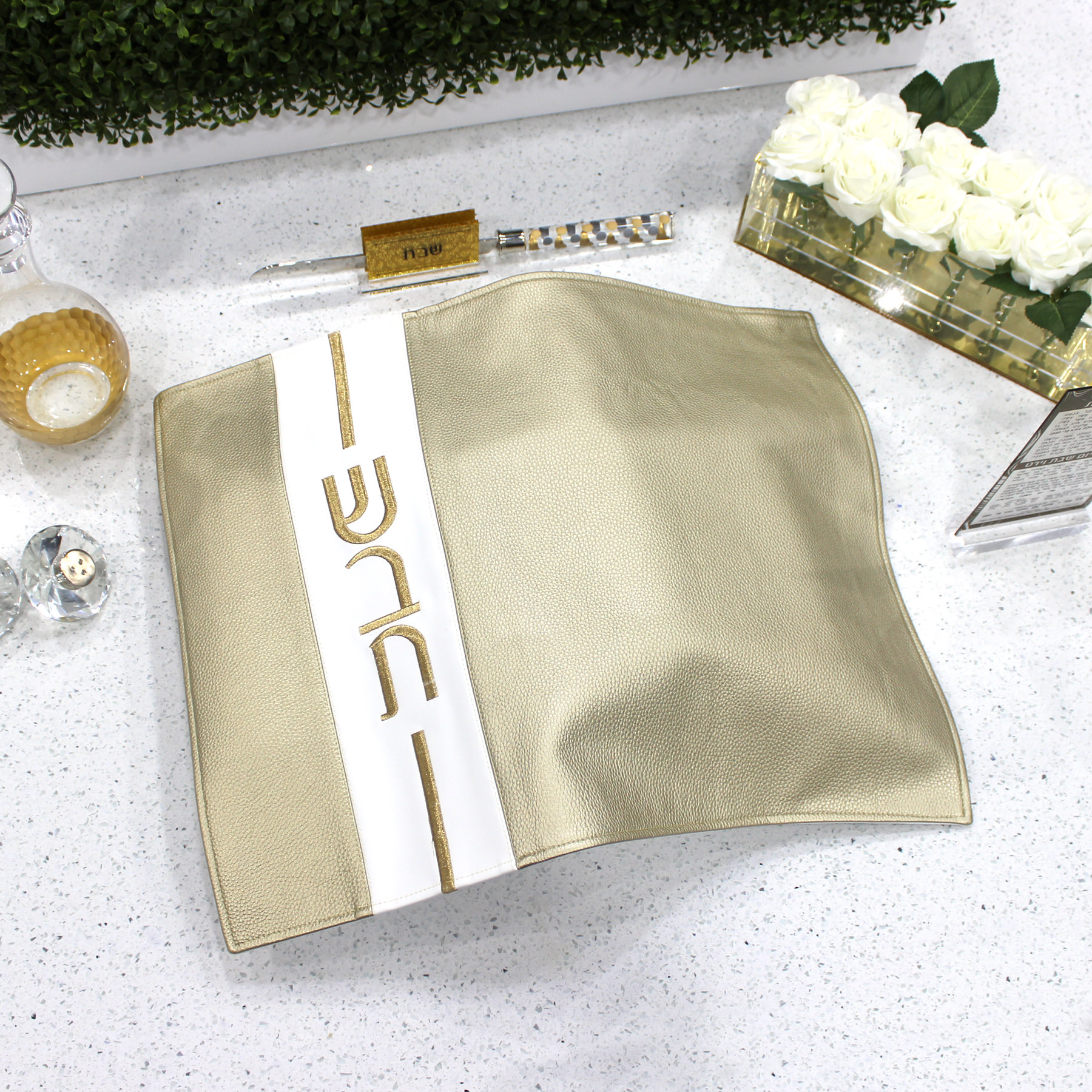 Leather Challah Cover - Vertical gold/white