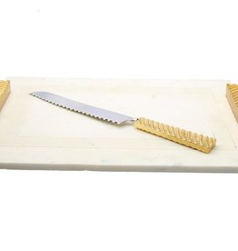 White marble challah Board w Gold Wave Handle
