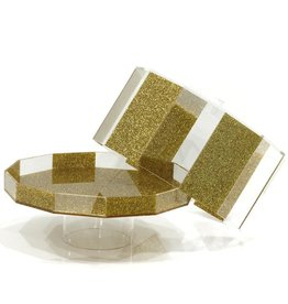 Waterdale Collection Hexagon Gold Glitter Cake Dome