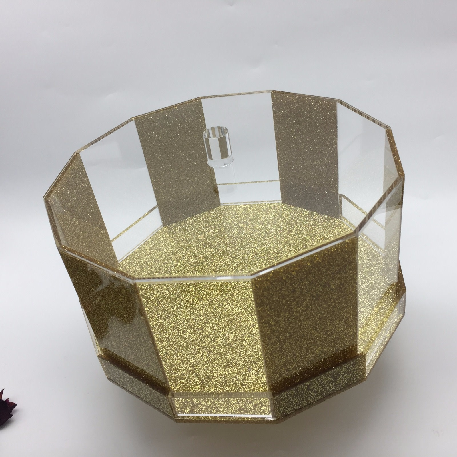 Hexagon Gold Glitter Cake Dome