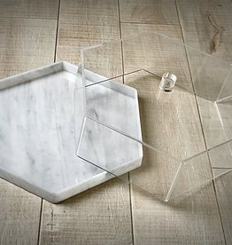 Hexagon marble cake dome w clear lid