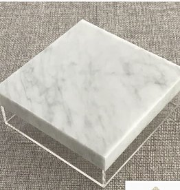 """10"""" square lucite box with marble lid"""