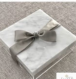 "10"" square lucite box with marble lid"