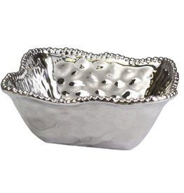 Ceramic beaded medium deep square bowl