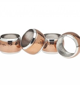 Godinger Silver Art Co hammered copper napkin rings set of 4