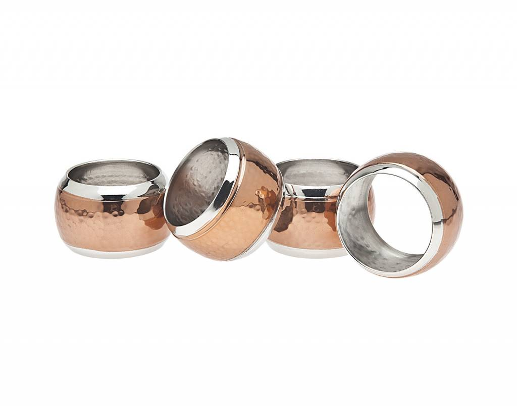 Godinger hammered copper napking rings set of 4