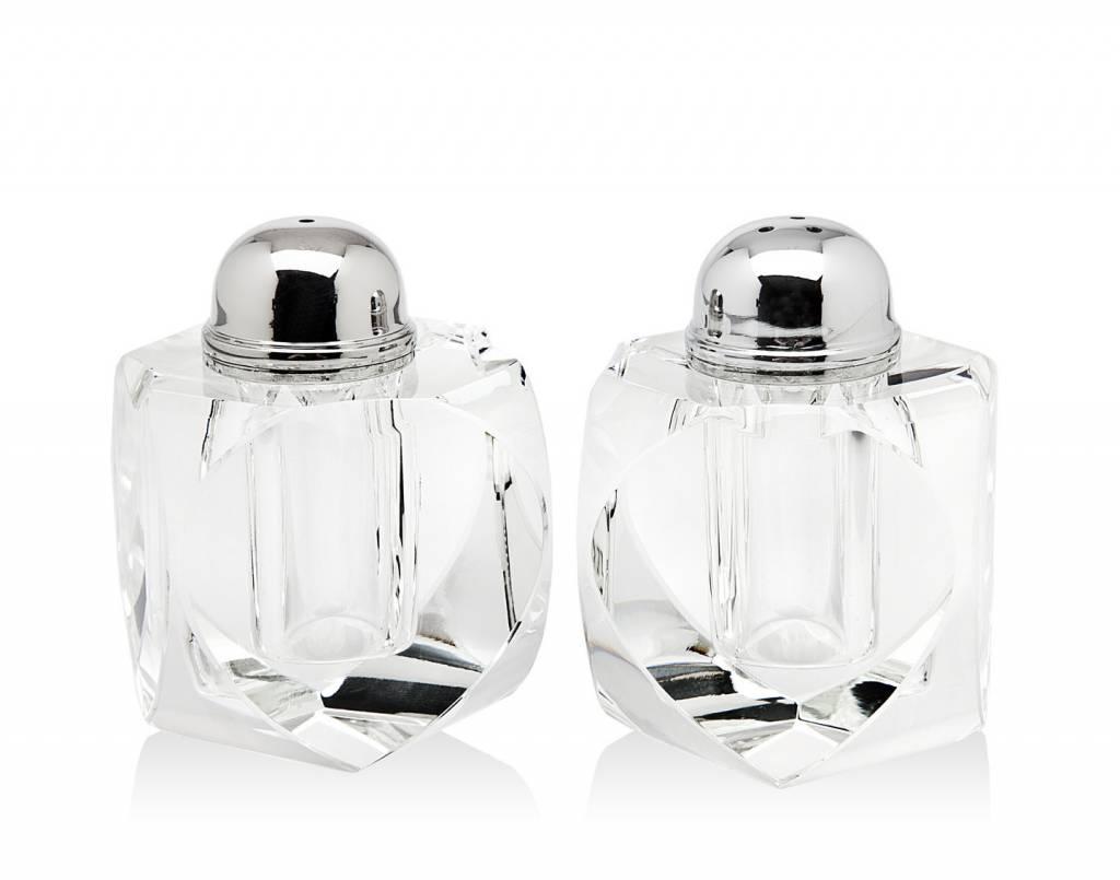 Modern Geometric Glass Salt /& Pepper Shakers