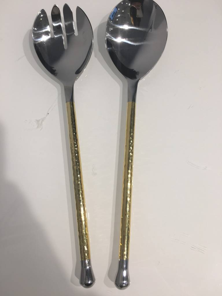 Gold and silver hammered salad servers