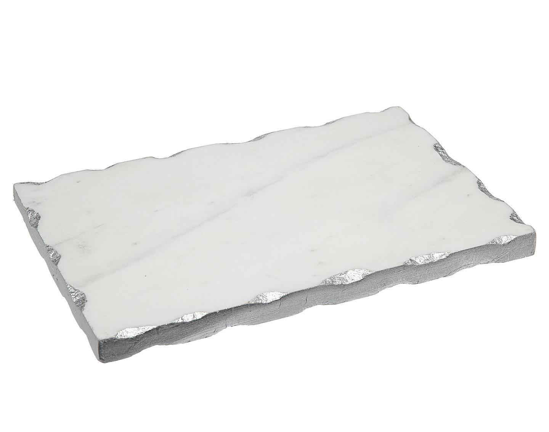 White Marble 9x6 Board w Silver Edge