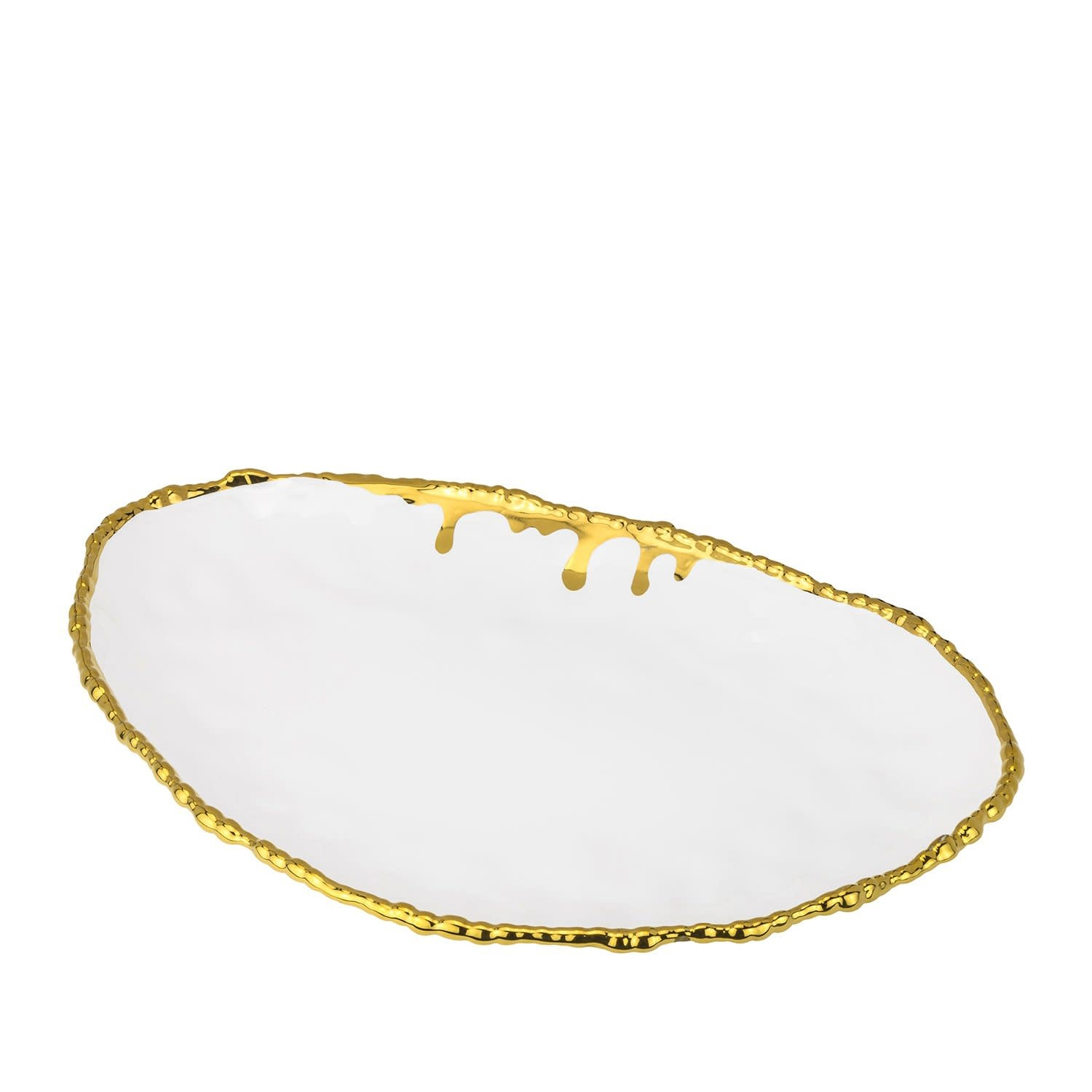 Large ceramic gold drip oval platter