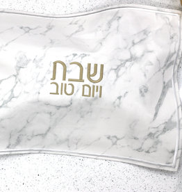 Leather challah cover-marble and gold