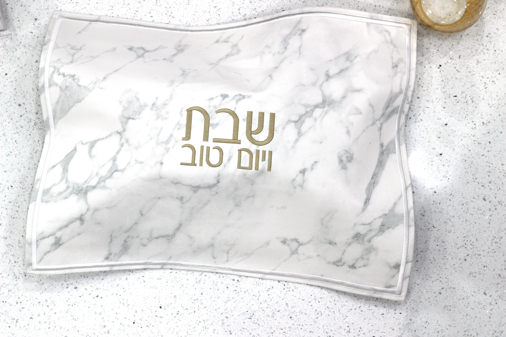 Leather Challah Cover- Marble & Gold