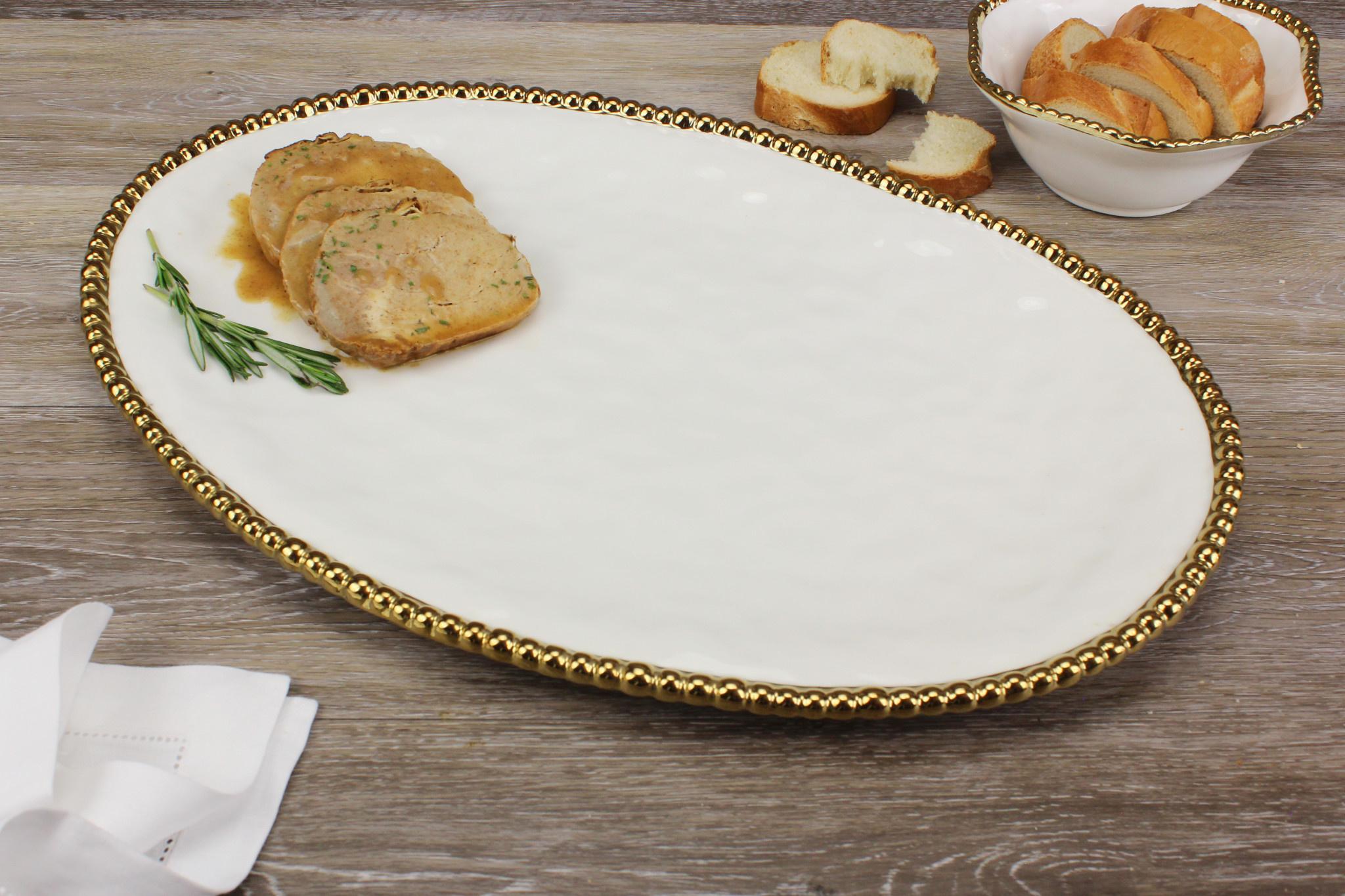 Large Ceramic Beaded White / Gold Oval Platter