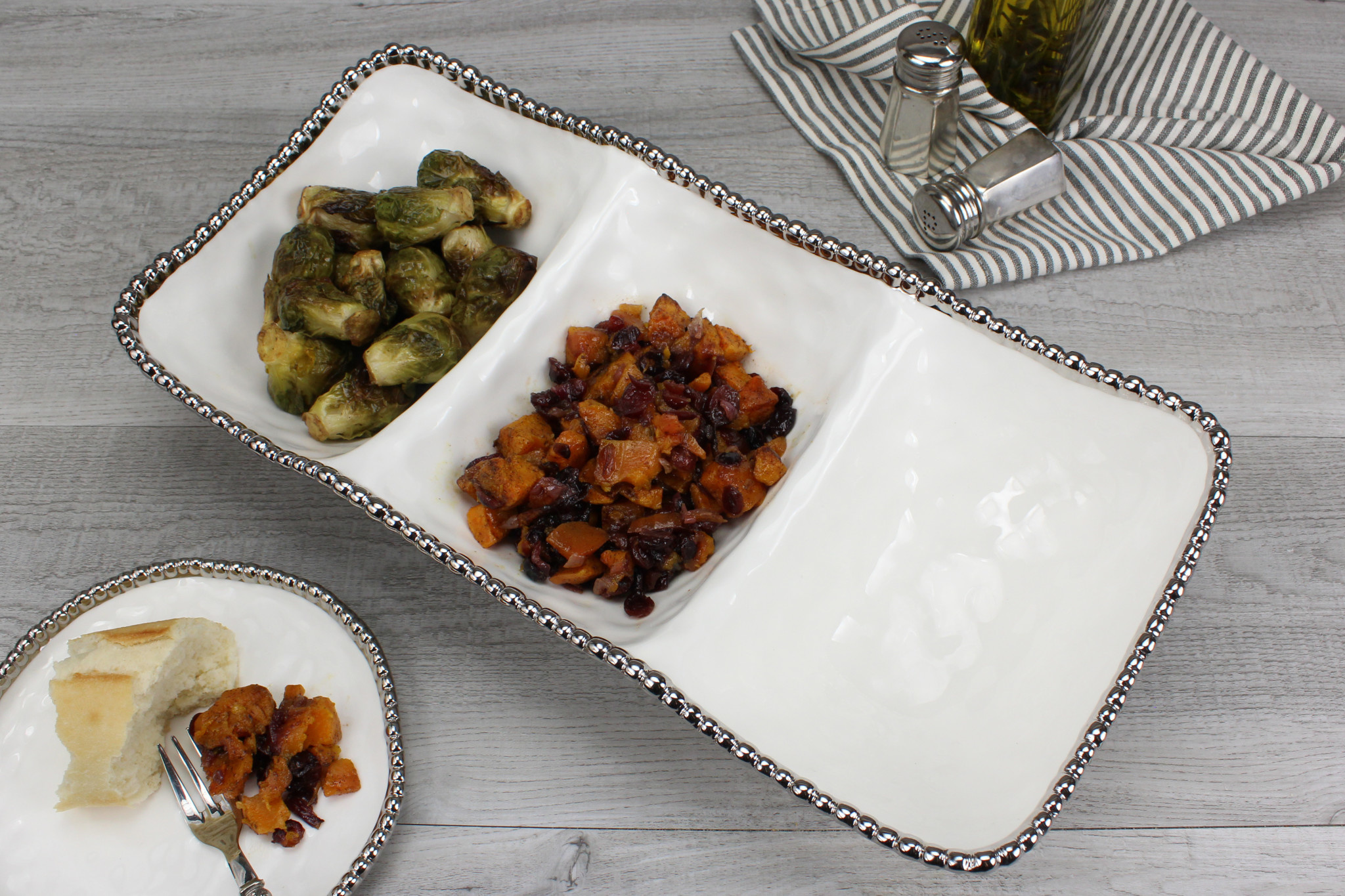 White/Silver Large 3 section serving platter