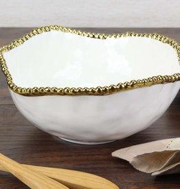 Ceramic Beaded White/Gold large Salad Bowl