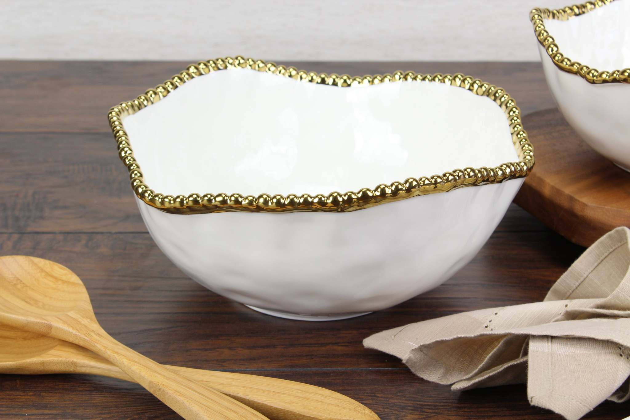 Ceramic Beaded White/Gold large Salad Bowl