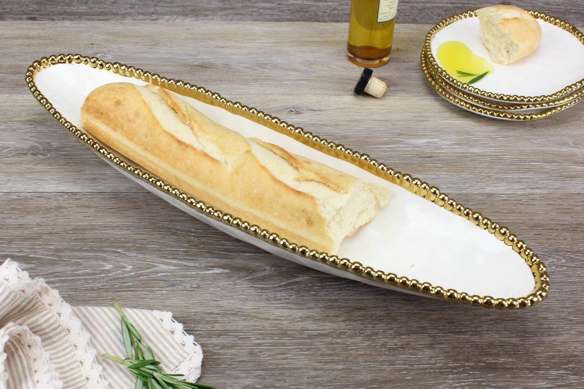 White/ Gold Baguette server