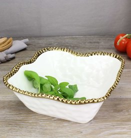 Ceramic Beaded White/ Gold Medium Square Bowl