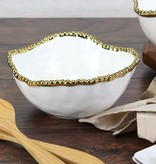 Ceramic Beaded White / Gold Medium Salad Bowl