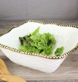 Ceramic Beaded White / Gold Large Square Salad Bowl