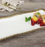 Medium White / Gold Rectangular Tray