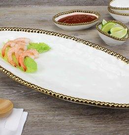 White / Gold Oval Serving Platter