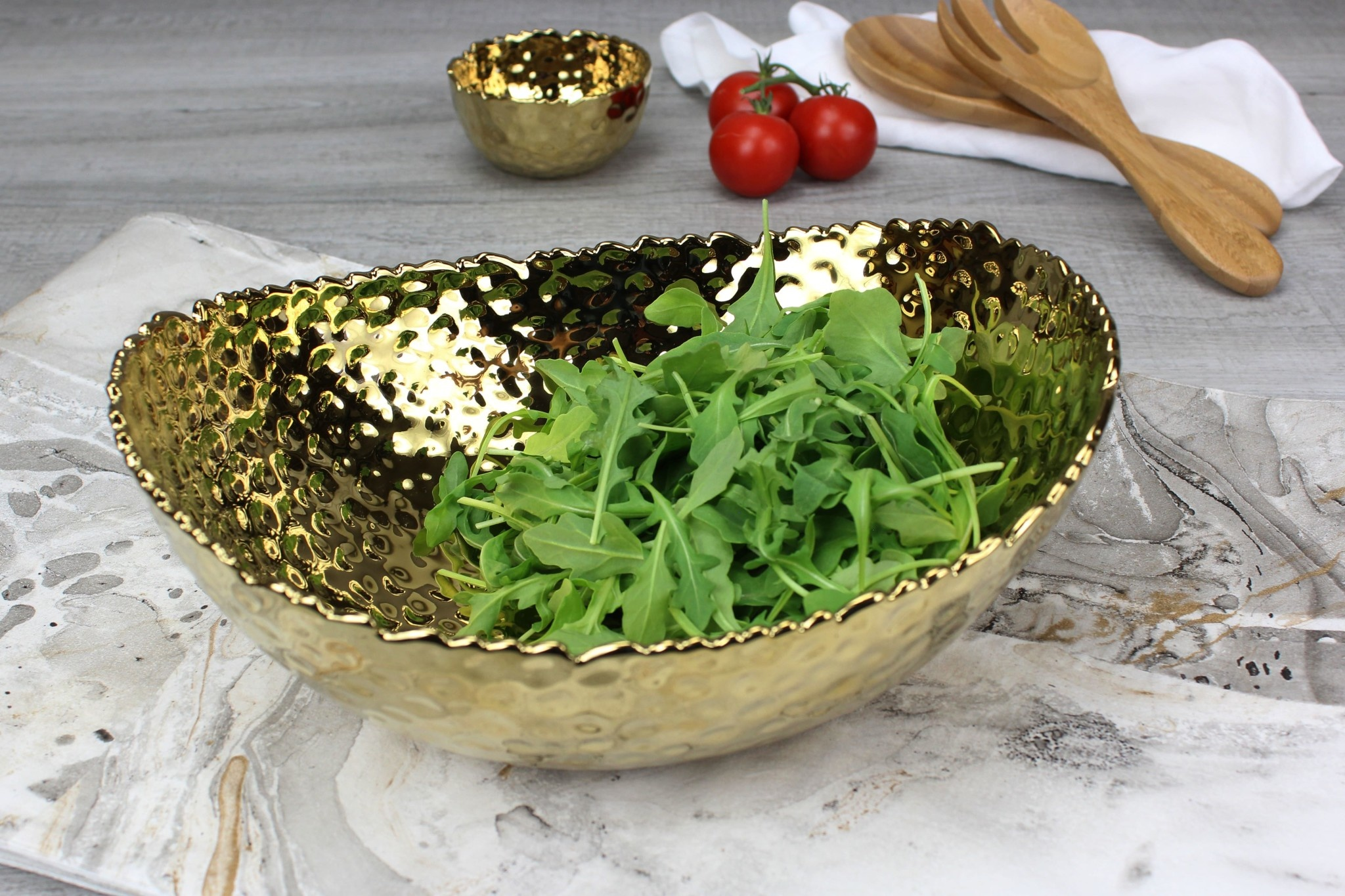 Small Gold Oval Bowl