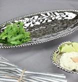 Ceramic beaded Oval Serving Platter