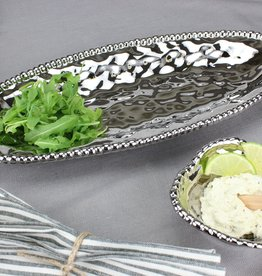 Ceramic beaded Oval Serving Platter