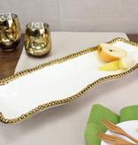 White / Gold Rectangular Platter